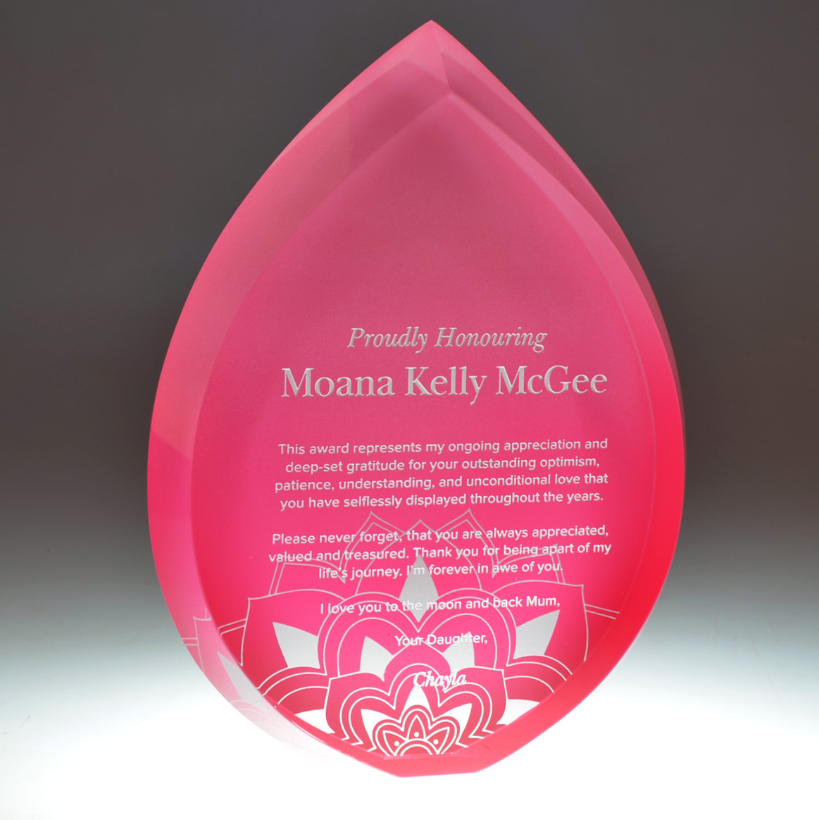 MoanaKelly crystal droplet award by Mint Awards